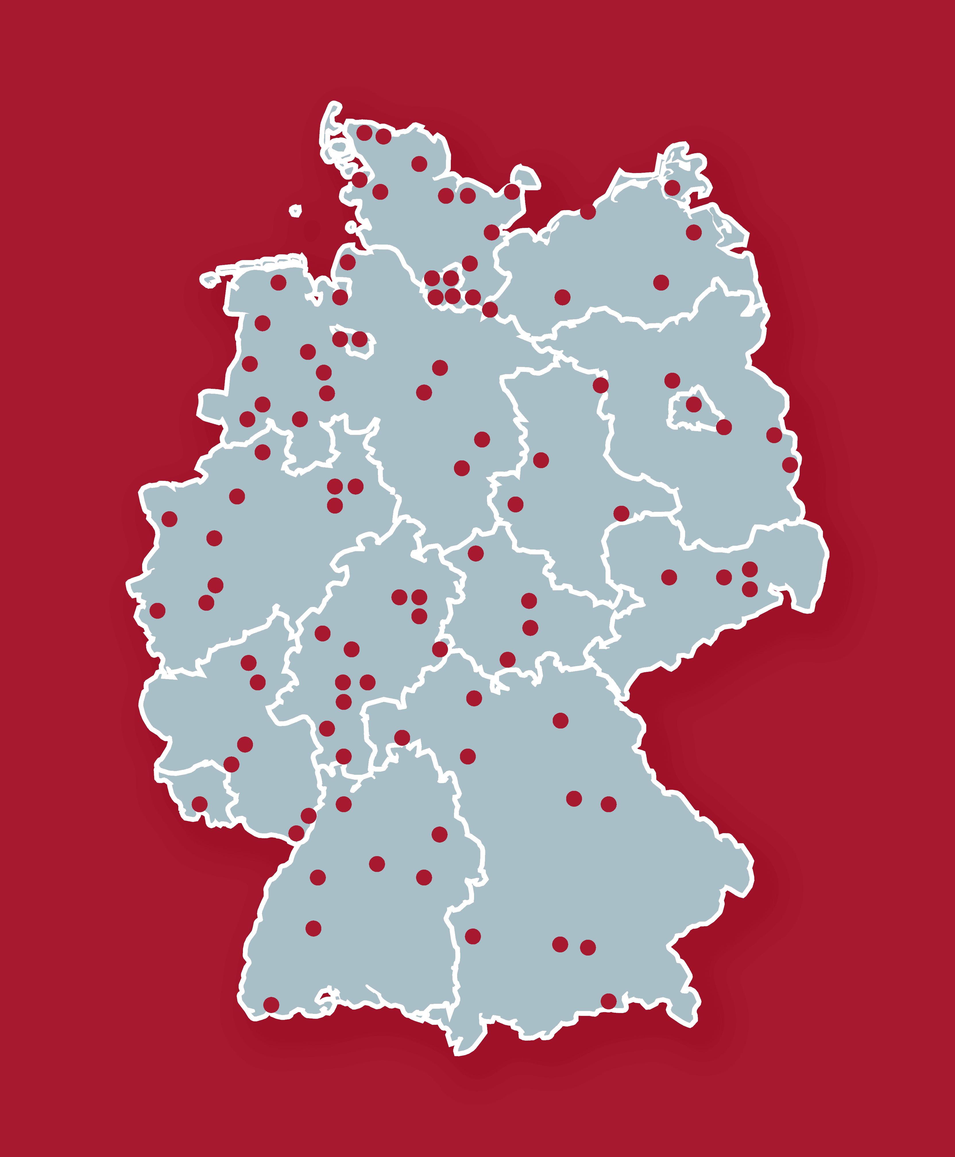 Deutschlandkarte mit Punkten